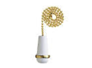 16103 - White Wooden Cone 12-in Brass Pull Chain
