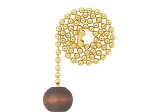 16107 - Wooden Ball 12-in Brass Pull Chain