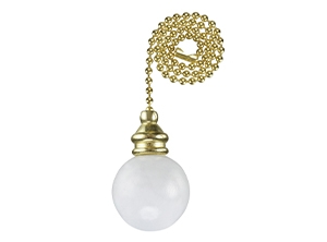 16109 - White Wooden Ball 12-in Brass Pull Chain