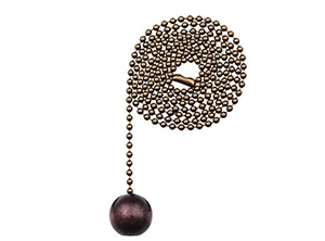 16108 - Wooden Ball 36-in Brass Pull Chain